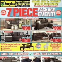 Surplus Furniture - 7 Piece Package Event! Flyer
