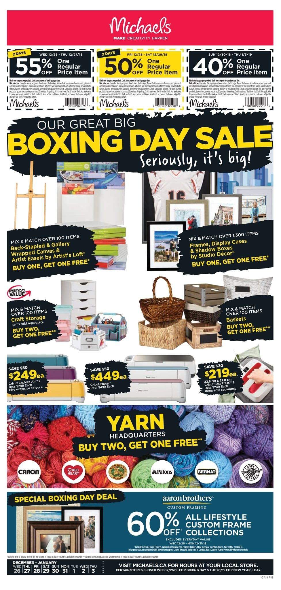 michaels weekly flyer our great big boxing day sale dec 26 jan