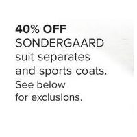 Sondergaard Suit Separates And Sports Coats