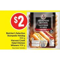Butcher's Selection Stampede Hotdog, Harvest Creek Halal Chicken Wieners