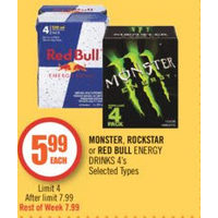 Monster, Rockstar Or Red Bull Energy Drinks