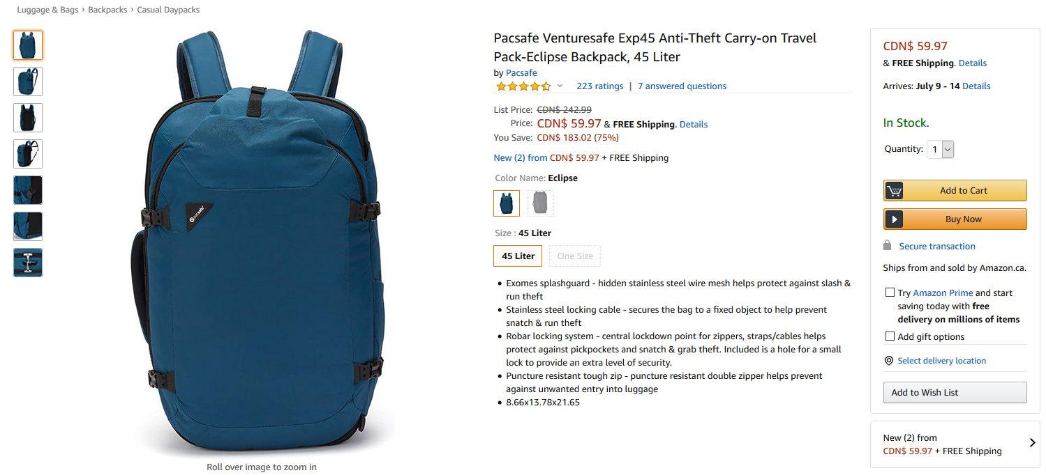 Pacsafe Venturesafe Exp45 $59.97 (YMMV)