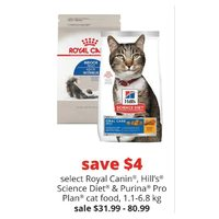 Royal Canin, Hill's Science Diet & Purina Pro Plan Cat Food