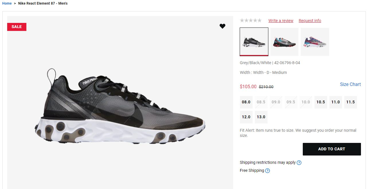 Generosidad Frágil Revelar  Foot Locker] Nike React Element 87 - $105 (50% off) - RedFlagDeals.com  Forums