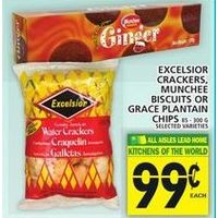 Excelsior Crackers, Munchee Biscuits or Grace Plantain Chips