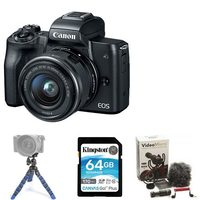 Canon EOS M50 4K Mirrorless Camera with EF-M 15-45mm Lens Kit Bundle