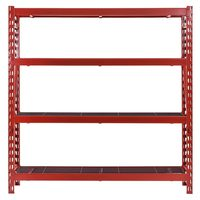 Husky 4-Shelf Red Welded Steel Storage Shelving Unit With Black Wire Deck