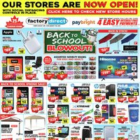 Factory Direct - Back To School Blowout! Flyer