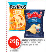 Sunchips, Tostitos Tortilla Or Ruffles Potato Chips