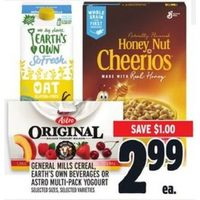 General Mills Cereal, Earth's Own Beverages Or Astro Multi-pack Yogourt