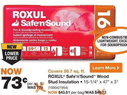 home depot roxul safe 39 n 39 sound wood stud insulation. Black Bedroom Furniture Sets. Home Design Ideas