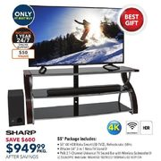 "Sharp 55"" 4K UHD HDR LED Roku Smart TV, Whalen 3-in-1 TV Stand & Polk 2.1-Ch TV Sound Bar Package - $949.99 ($600.00 off)"