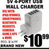 5 V 4-Port USB Wall Charger - $10.99