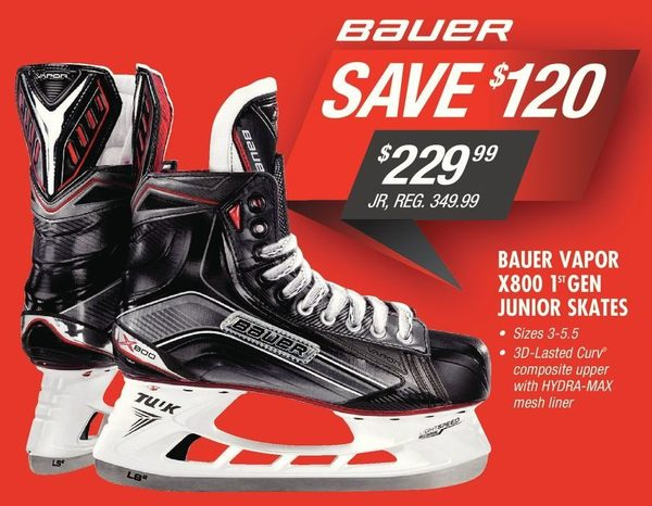 9b336bb695e Pro Hockey Life  Bauer Vapor X800 Gen 1 Jr Hockey Skates - RedFlagDeals.com