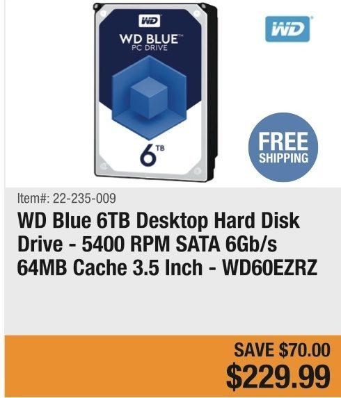 Newegg: WD Blue 6TB Desktop Hard Disk Drive - 5400 RPM SATA
