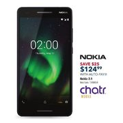 Chatr Nokia 2.1 Prepaid w/ Auto-pay - $124.99 ($25.00 off)