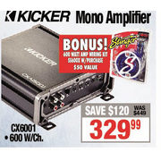 Kicker Mono Amplifier - $329.99 ($120.00 off)
