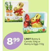 Lindt Bunny & Carrots Or Bunny & Eggs - $8.99