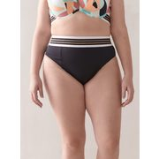 High Waist Swim Brief With Striped Elastic Waistband - Addition Elle - $4.98 ($4.99 Off)
