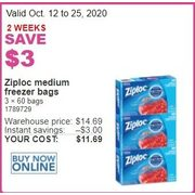 Ziploc Medium Freezer Bags - $11.69 ($3.00 off)