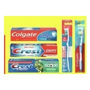 Colgate Max Fresh, Regular or Crest Complete, Cavity or Tartar Protection Toothpaste or Oral-B or Colgate Manual Toothbrushes - $0